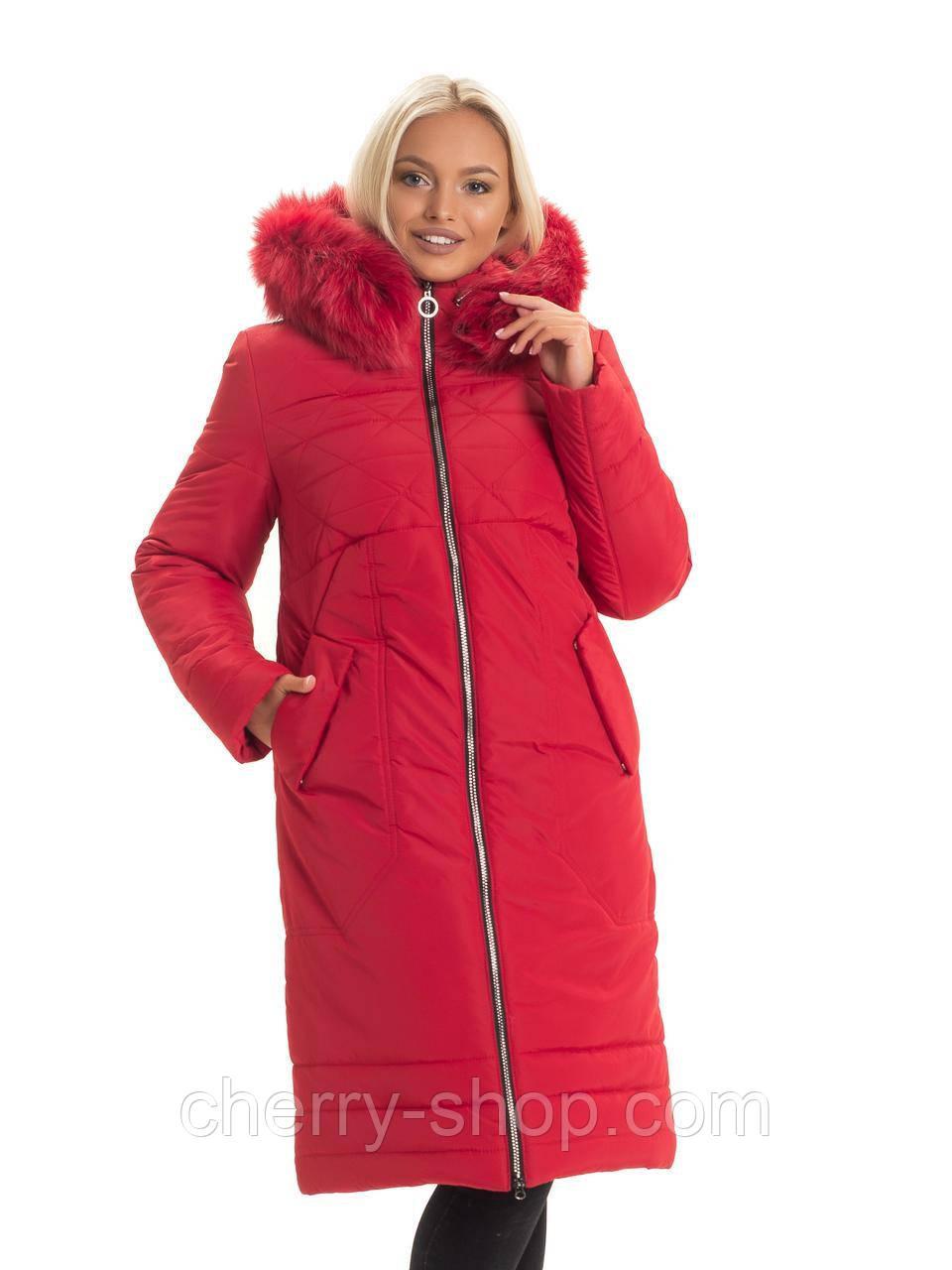 Модний червоний пуховик для жінок