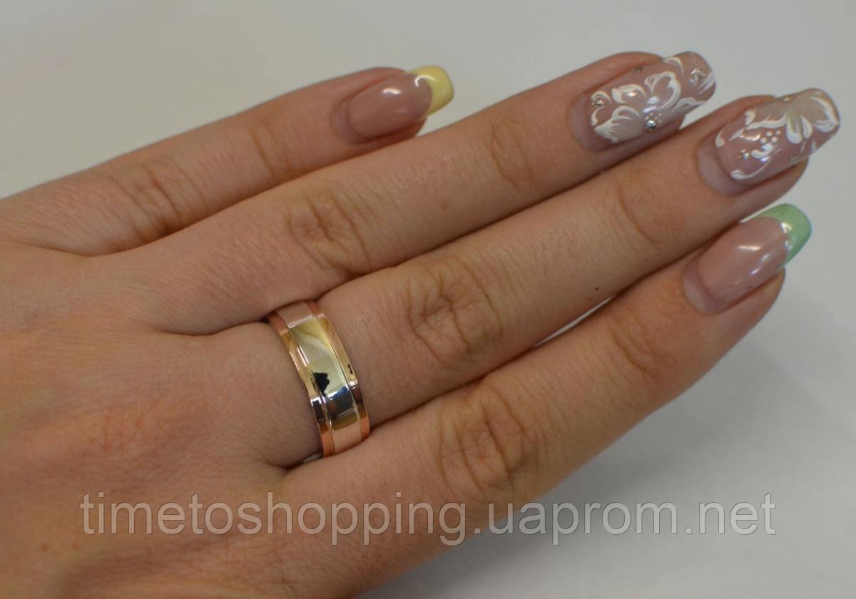 Обручальное кольцо из серебра с золотыми вставками