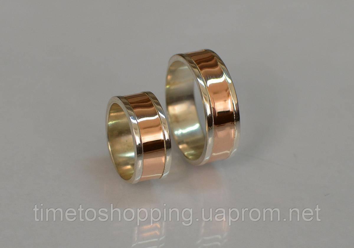 Серебряное обручальное кольцо с золотыми вставками