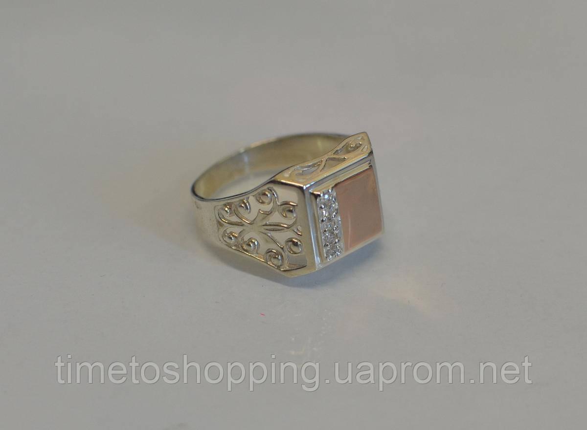 Серебряная печатка с напайками из золота