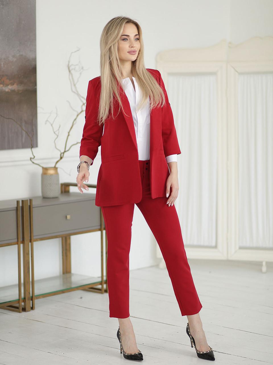 Красный Костюм с удлиненным пиджаком