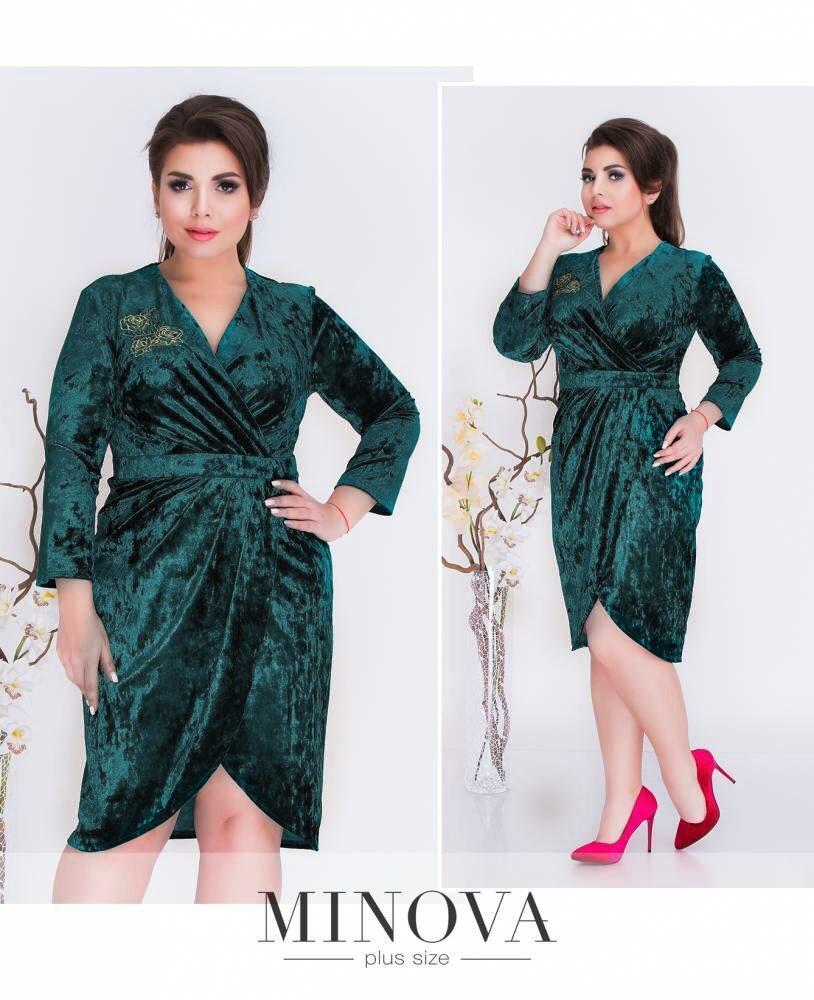 """Роскошное женское платье с аппликацией ткань """"Бархат"""" 54, 56 размер батал 52"""