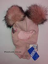 Детская зимняя шапка-шлем на девочку фирмы AGBO размер 48-50