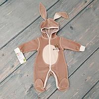 """Человечек велюровый для новорожденного с капюшоном и ушками """"Зайка"""", рост 62 см"""