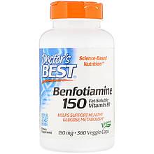 "Бенфотиамин Doctor's Best ""Benfotiamine"" 150 мг, биодоступная форма витамина В1 (360 капсул)"