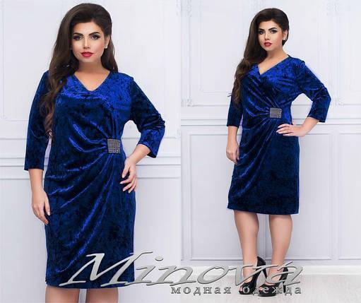 """Великолепное женское платье ткань """"Бархат"""" 52 размер батал, фото 2"""