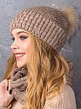 Женский вязаный комплект с натуральным меховым помпоном: шапка и шарф-хомут (в расцветках), фото 3
