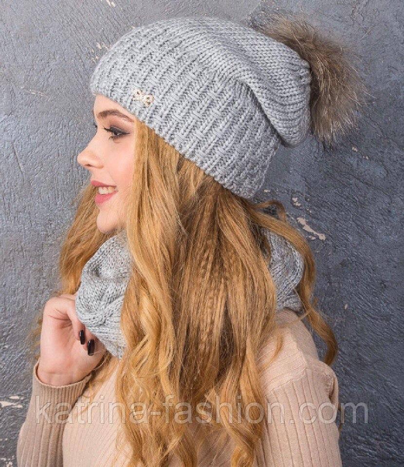 Женский вязаный комплект с натуральным меховым помпоном: шапка и шарф-хомут (в расцветках)