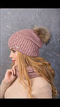 Женский вязаный комплект с натуральным меховым помпоном: шапка и шарф-хомут (в расцветках), фото 5