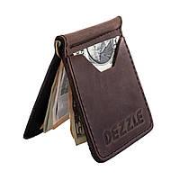 Кожаный ультратонкий кошелек-зажим для денег на магните Dezzle 2603 темно-коричневый