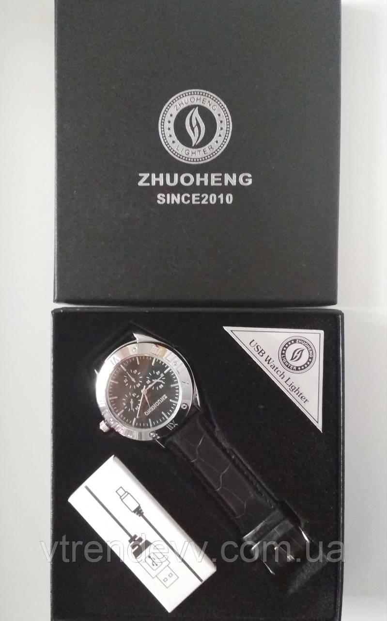 Зажигалка часы Zhuoheng Classic Lighter 2 в 1 в черном ремешке