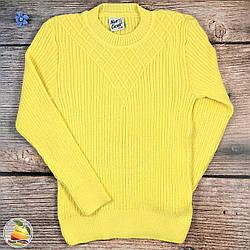 Жёлтая вязанная туника для девочек Размеры: от 4 до 9 лет (9111)