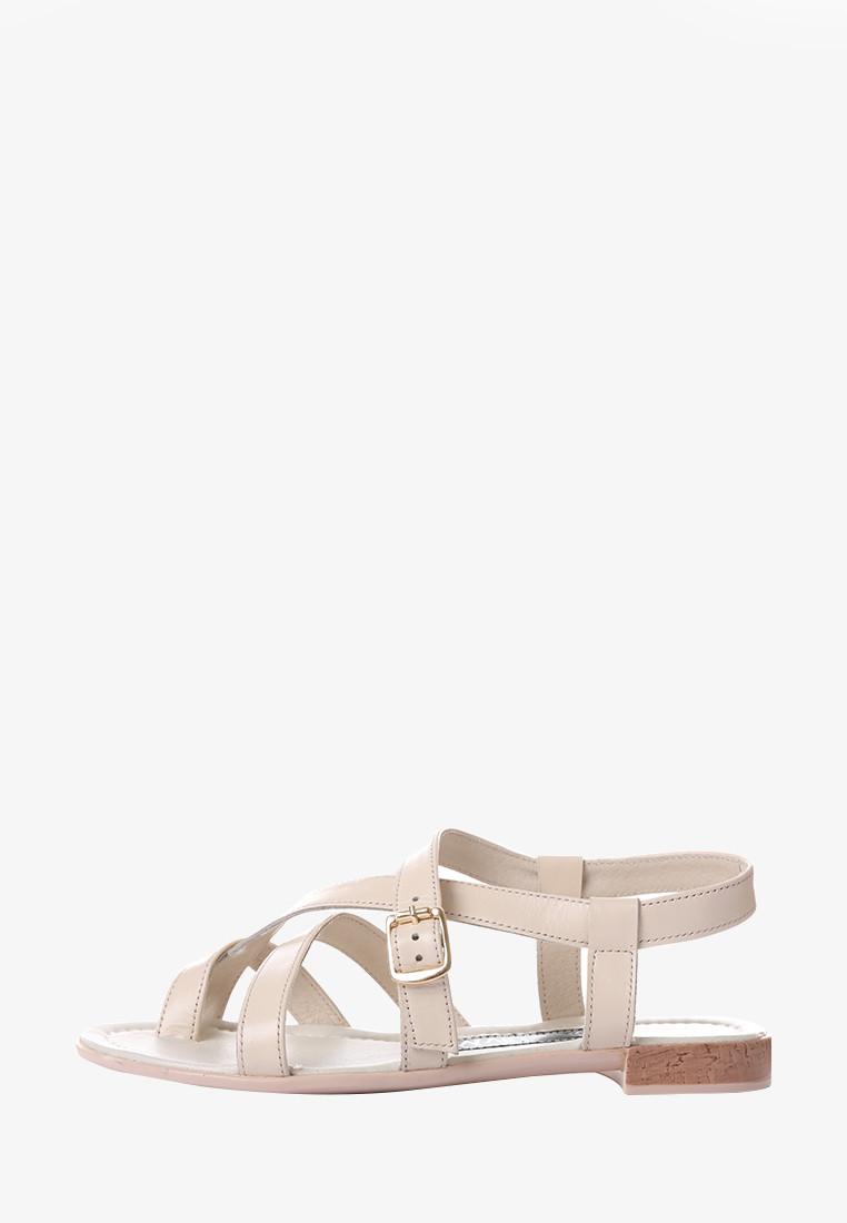 VM-Villomi Светлые кожаные босоножки через палец на низком ходу