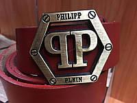 Ремень кожаный Philipp Plein, (с коробочкой для ремня), ремені