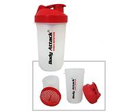 🔥✅ Шейкер спортивный Body Atack с 2-мя контейнерами Прозрачно-Красный
