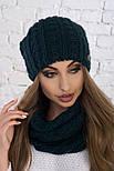 Женский вязаный комплект: шапка и шарф-хомут (в расцветках), фото 2