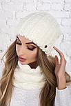 Женский вязаный комплект: шапка и шарф-хомут (в расцветках), фото 3