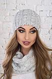 Женский вязаный комплект: шапка и шарф-хомут (в расцветках), фото 5