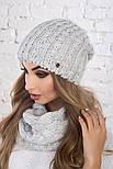Женский вязаный комплект: шапка и шарф-хомут (в расцветках), фото 8