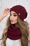 Женский вязаный комплект: шапка и шарф-хомут (в расцветках), фото 7