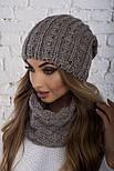 Женский вязаный комплект: шапка и шарф-хомут (в расцветках), фото 9