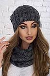 Женский вязаный комплект: шапка и шарф-хомут (в расцветках), фото 4