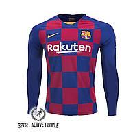 Детская футбольная форма Барселона (домашняя) с длинный рукавом, сезон 19-20. Элитный полиестер.