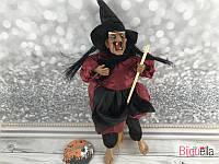 Музыкальная Баба Яга в красном платье и метлой игрушка декор для вечеринки Хеллоуина
