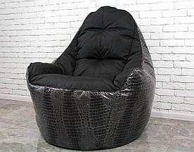 Бескаркасное Кресло мешок груша диван черный BOSS (XL)