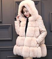 Женская курточка шуба трансформер из искусственного меха с капюшоном
