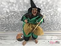 Баба Яга в зеленом платье и метлой музыкальная декор для вечеринки Хеллоуина