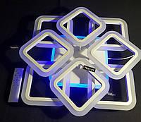 Люстра светодиодная квадраты 4+4 белая 144 ватт