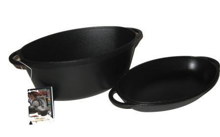 Гусятница  чугунная  с чугунной крышкой-сковородой. Объем 5,0 литра.