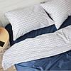 Постельное белье семейное поплин PF044 Серый зиг-заг/Деним Хлопковые традиции
