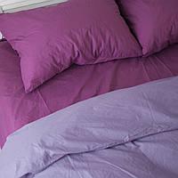 Постельное белье семейное поплин PF045 Тёмно-сиреневый/тёмно-лиловый Хлопковые традиции, фото 1