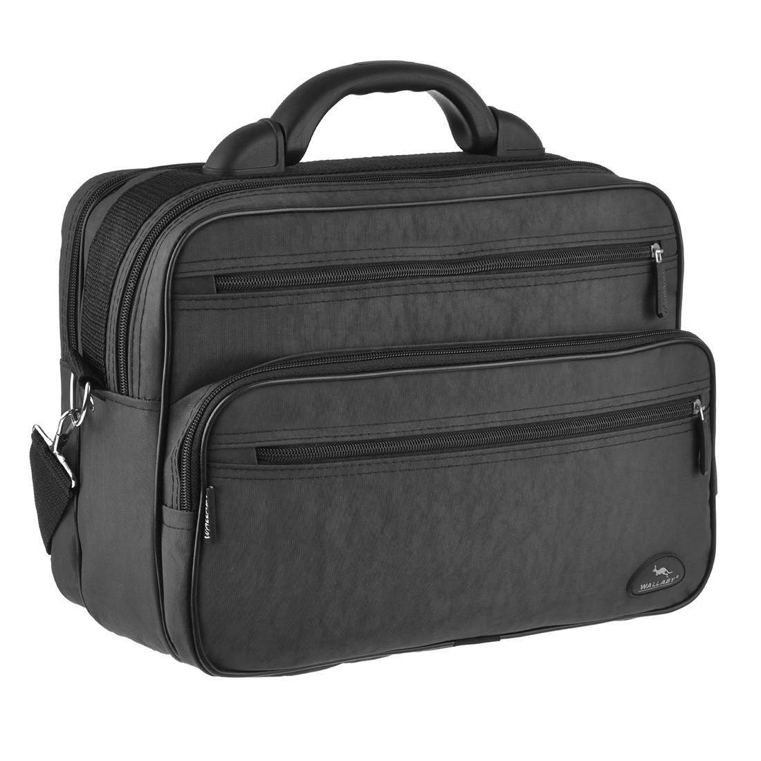Мужская сумка Wallaby полу каркас 36х26х16 ткань чёрный кринкл, ручка пластиковая  в 26531ч