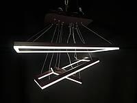 Cветодиодная люстра три подвесные квадрата с регулируемой высотой 240 ватт диммер