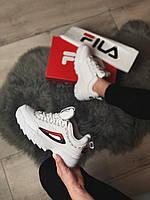Кроссы для женщин Фила Дисраптор 2. Женские кроссовки белые Fila Disruptor Taped Logo White.