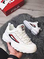 Женские кроссовки белые Fila Disruptor Taped Logo White. Фила Дисраптор 2 белые