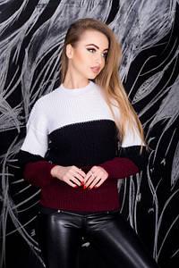 Женский разноцветный свитер (белый/черный/бордо, 42-44, PF-8378-2)