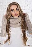Женский вязаный комплект: митенки и шарф-хомут, фото 2