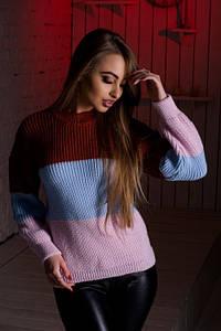 Женский разноцветный свитер (бордо/голубой/розовый, 42-44, PF-8378-3)