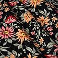 Декоративная ткань оранжевые и бордовые цветы на черном 180см, фото 2