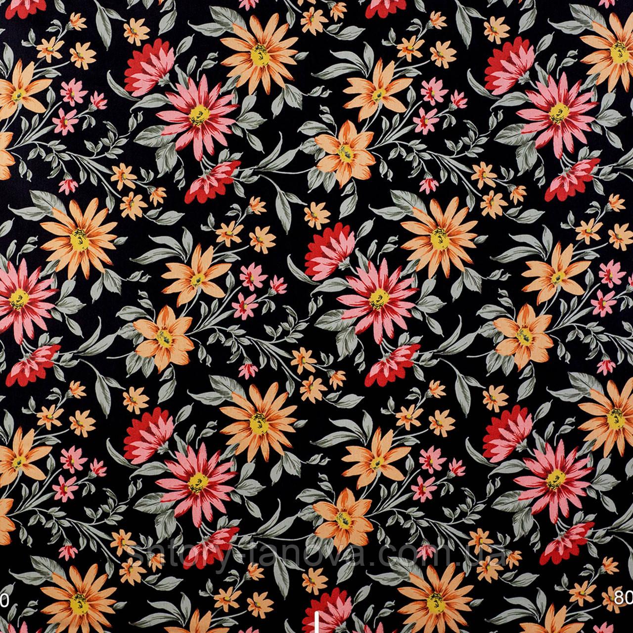 Декоративная ткань оранжевые и бордовые цветы на черном 180см
