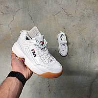 Женские осенние кроссовки белого цвета Fila Disruptor II gum sole Фила Дисраптор 2 Белые