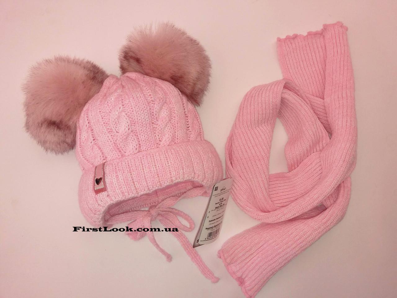 Детский комплект шапка и шарф на флисе,AGBO.размер(42-44)