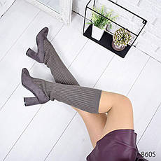 """Сапоги женские демисезонные """"Layxes"""" серого цвета из эко замши. Сапоги женские демисезонные. Сапоги ботфорты, фото 2"""