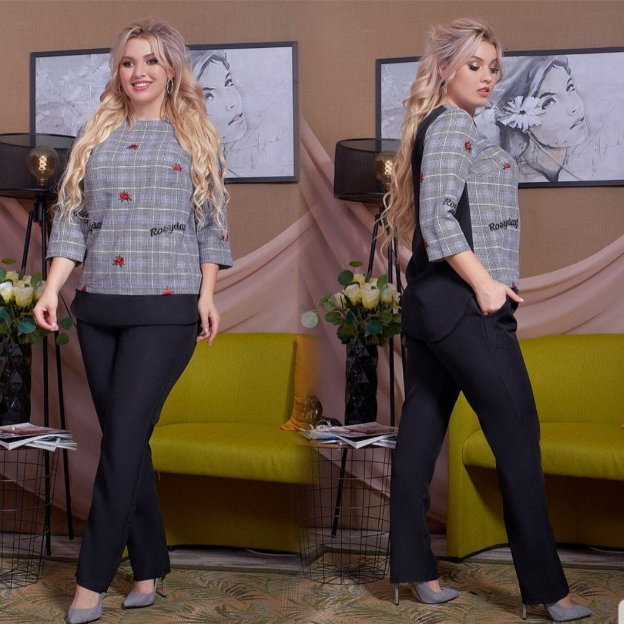 """Шикарный костюм двойка блуза и брючки ткань """"Габардин, Креп + Костюмная"""" размер 48"""