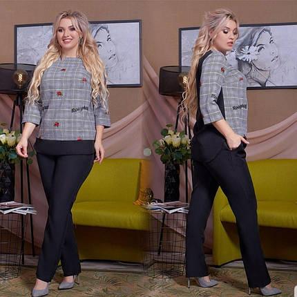 """Шикарный костюм двойка блуза и брючки ткань """"Габардин, Креп + Костюмная"""" размер 48, фото 2"""