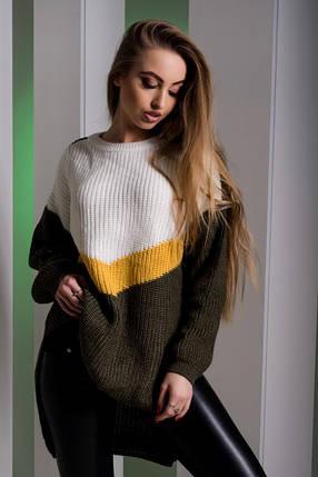 Женский разноцветный удлиненный свитер (белый/желтый/коричневый, 44-50, PF-8412-4), фото 2